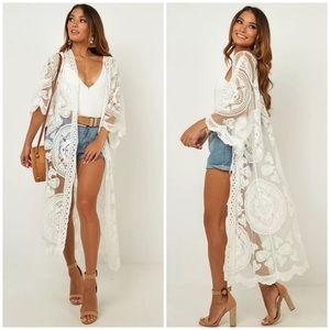 Scalloped Sheer Mesh Lace Boho Kimono Coverup Wrap